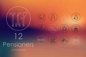 12 Pensioners line icons