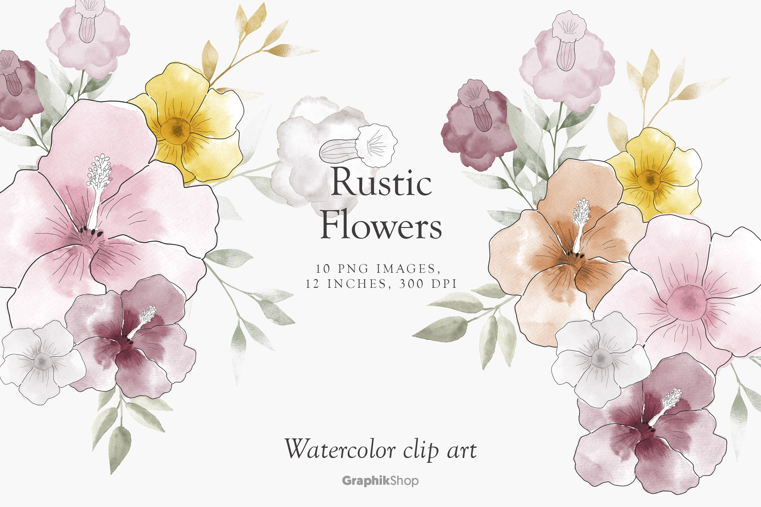 Watercolor Rustic Flowers Pre Designed Photoshop Graphics Creative Market Use these free rustic floral png #14328 for your personal projects or designs. watercolor rustic flowers pre