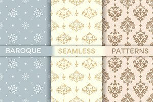 Set of Baroque seamless patterns