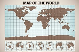 map of the world retro style