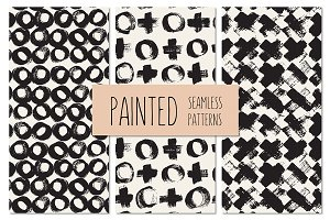 Painted Seamless Patterns Set 4