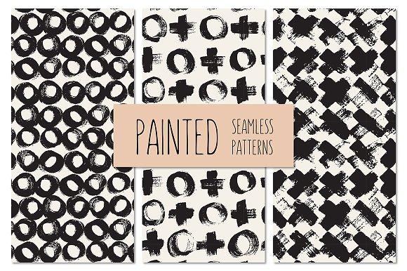 Painted Seamless Patterns Set 4