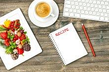 Digital tablet and vegetables recipe
