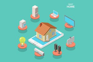 Smart house isometric concept