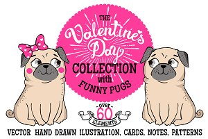 VALENTINE'S DAY vector set with pugs