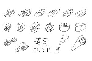 Sushi set hand drawing