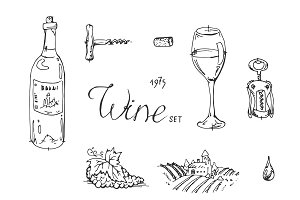 Hand drawn sketch wine set