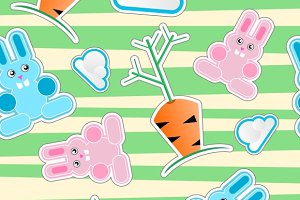 Seamless kid pattern with bunnies