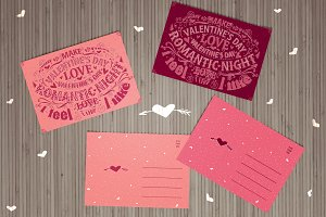 Valentine cards with lettering