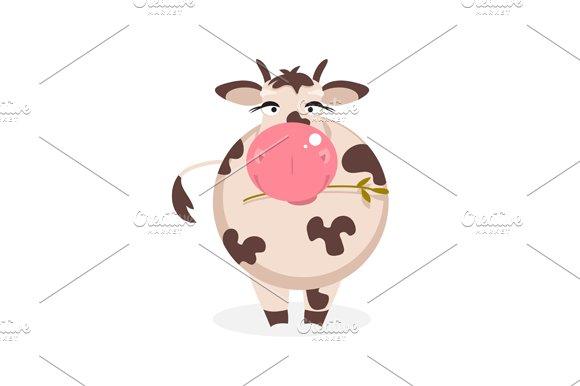 Funny cow. Vector Illustration - Illustrations