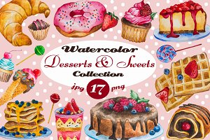 Watercolor Desserts & Sweets Set