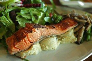 Salmon salad with mashed potato