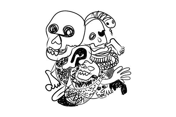 Doodle sketch of skull