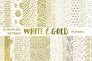 White and Gold Digital Paper Set