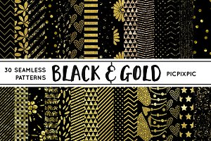 Black and Gold Digital Pattern Paper
