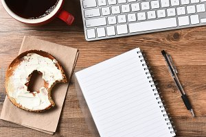 Bagel Coffee Keyboard Note Pad
