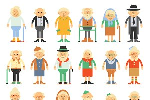 Vector set of grandparents in a flat