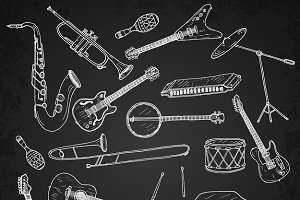 Set of hand drawn music instruments.