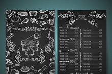 Hand drawn restaurant menu.