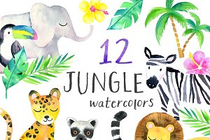 Watercolor Safari Animals Clipart
