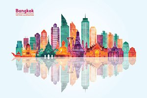 Bangkok city detailed skyline.