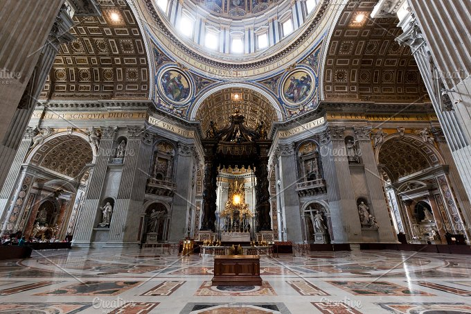 Inside of St. Peter Basilica. - Architecture