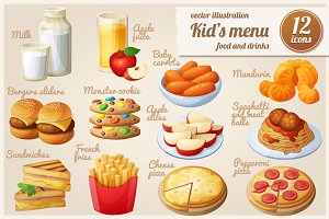Kids menu: Cartoon vector food icons