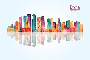 Doha detailed skyline.
