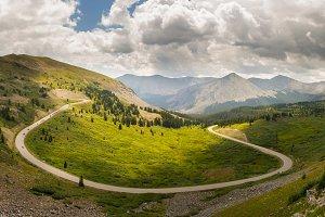 Panorama curving road in Colorado