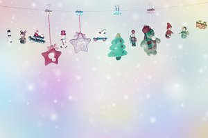Christmas toys garland background