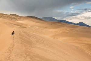 Hiker on Great Sand Dunes NP