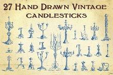 27 Hand Drawn Vintage Candlesticks