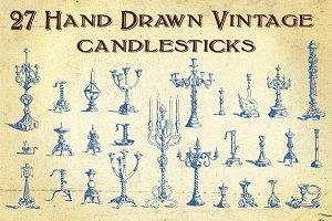27 Hand Drawn Vintage Candlesticks