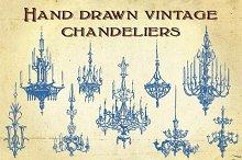 Hand Drawn Vintage Chandeliers