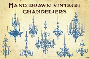 Hand Drawn Vintage Chandeliers