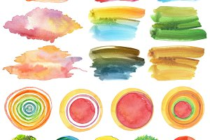 Set of watercolor painted elements