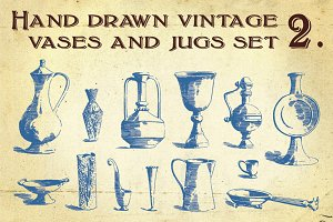 Hand Drawn Vintage Vases and Jugs 2.
