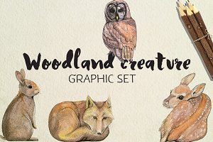 Woodland Creature Graphic Set