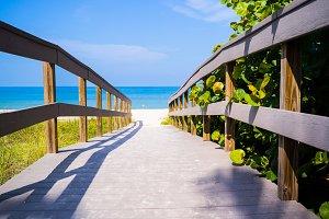 Boardwalk path to beach and ocean