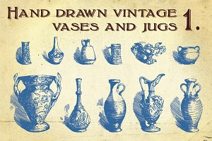 Hand Drawn Vintage Vases and Jugs 1.