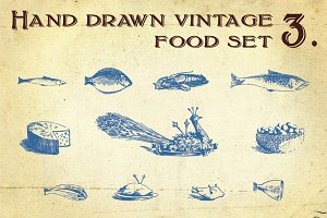 Hand Drawn Vintage Food Set 3