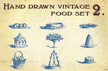 Hand Drawn Vintage Food Set 2