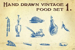 Hand drawn vintage food set 1.