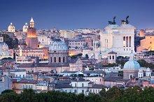 Rome skyline at night.