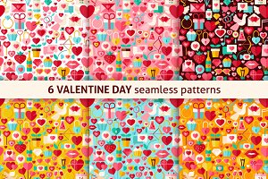 Valentine Day Flat Seamless Patterns