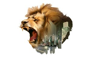 Roaring lion head