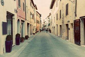 Tuscan street in vintage.