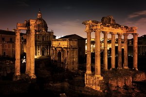 The Roman Forum at night.