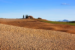 Tuscany landscape in sunny day.