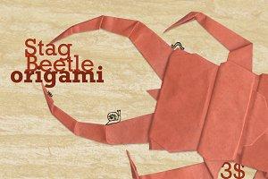 Stag Beetle Origami, hi-res